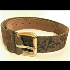Gap Belt Size 20 Brown Suede Black Embroidered